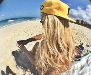 blonde, beach, and cap image