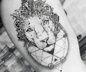 tattoo, lion, and black image