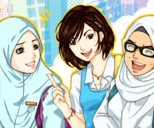 anime girl, muslimah, and friends image