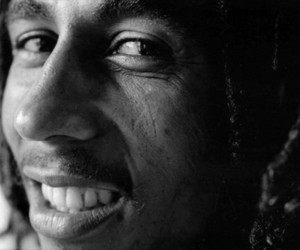 black and white, bob marley, and smile image