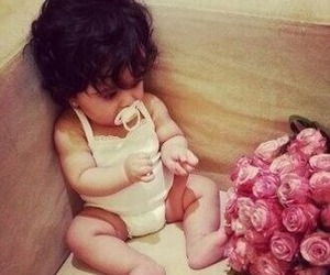 baby, rose, and flowers image