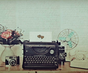 vintage, camera, and flowers image