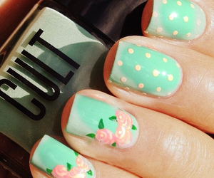 flowers, green, and nails image