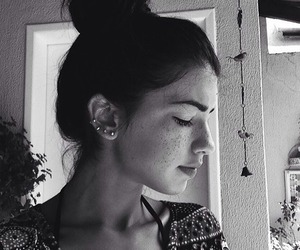 girl, freckles, and piercing image