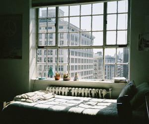 window, room, and bed image
