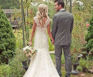 couple, beautiful, and bride image