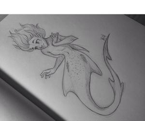 drawing, girl, and mermaid image