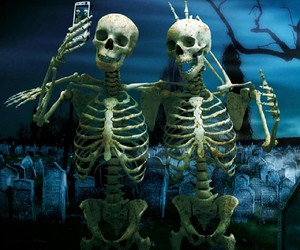 selfie, skeleton, and funny image