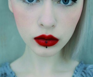 piercing, girl, and lips image