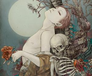 art, skeleton, and moon image