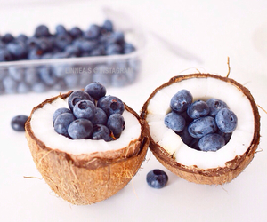 blueberries, coconut, and food image