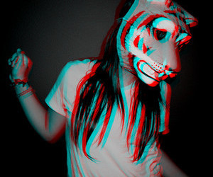 girl, tiger, and 3d image