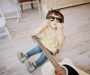boy, baby, and guitar image