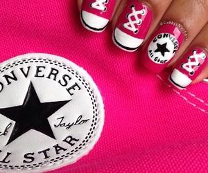 converse, nails, and pink image