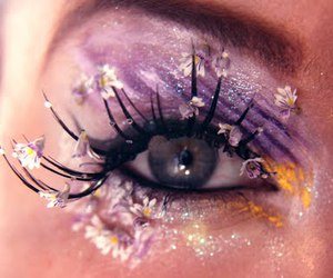 flowers, lashes, and makeup image