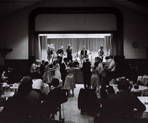 album cover, black and white, and concert image