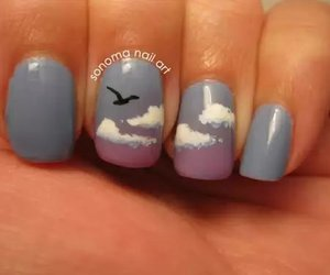 nails, bird, and clouds image