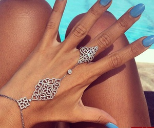 blue, nails, and jewelry image