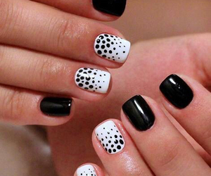 black, dots, and nails image