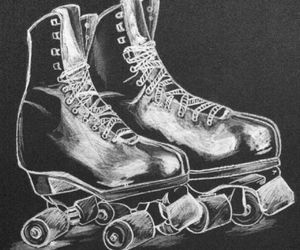 black and white, doodle, and roller skates image