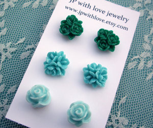 earrings, fashion, and green image
