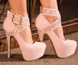 fashion, glitter, and pink shoes image