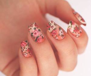 beauty, nails, and floral print image