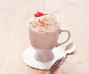 coffee, strawberry, and cafe image