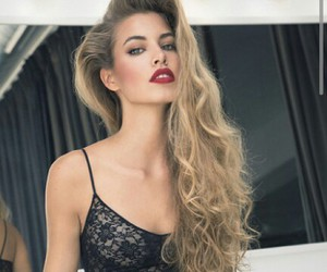 beautiful, hair, and red lips image