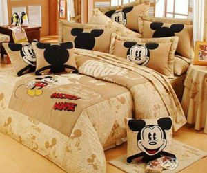 mickey mouse, bed, and bedroom image