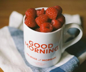 good morning, raspberry, and cup image