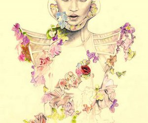 kate moss, flowers, and illustration image