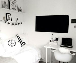 bed, bedroom, and black & white image