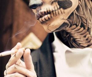 boy, smoke, and skull image