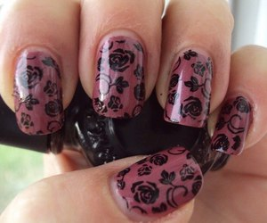 black, floral, and nail lacquer image