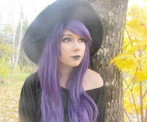 dyed hair, purple hair, and pastel goth image