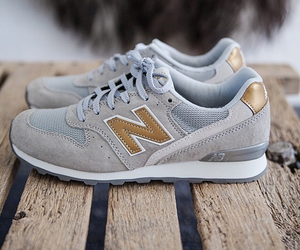 shoes, new balance, and gold image