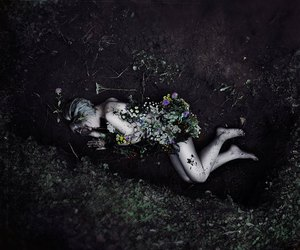 flowers, death, and grave image