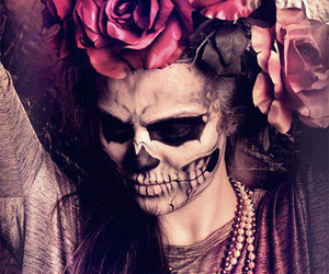 make up, rose, and skull image
