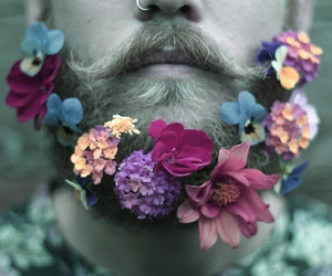 flowers, beard, and man image