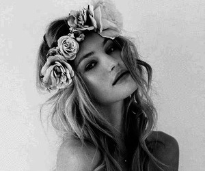 blonde, eye, and flower image