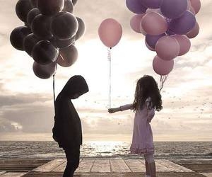 balloons, boy, and pink image