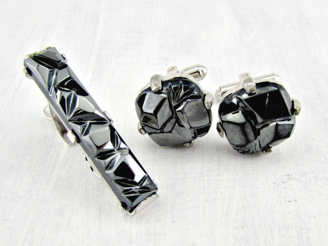sarah coventry, vintage cufflink set, and charcoal classic image