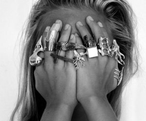 rings, girl, and black and white image