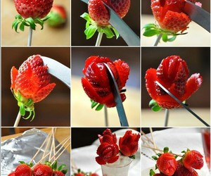 strawberry, food, and rose image