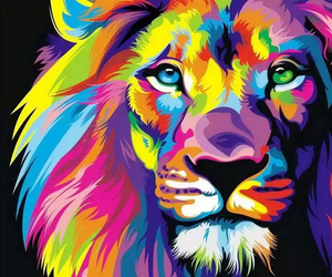 lion, colors, and art image