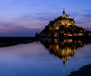 Mont Saint Michel, night, and tide image