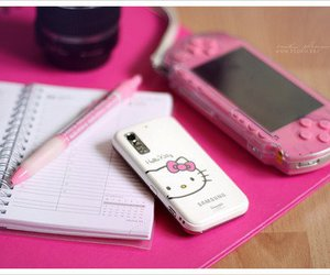 pink, hello kitty, and phone image