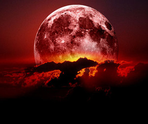 clouds, moon, and red image