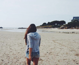 beach, brown hair, and girl image